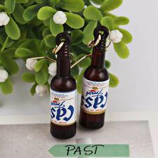 Lovely Summer Style Glass Beer Bottle Shape Hook Drop Dangle Earrings 1Pair