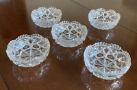 "Set of 5 ""NEAR CUT"" Engraved Glass 4 1/2"" Bowls with Star Patterns Sawtooth Edge"
