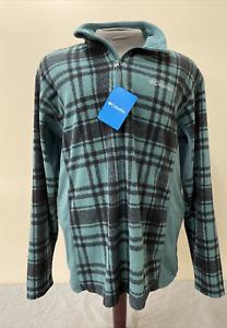 Columbia Mens Pine Ridge 1/4 Zip Teal/Black Plaid Fleece Pullover Sz. LG Charity