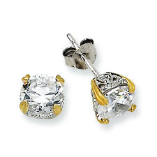 Plated 6.5mm Cz Post Stud Earrings Cheryl M 925 Sterling Silver & Gold