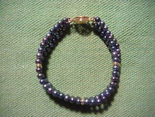 14K GOLD MEXICO & Blue Purple PEARL BRACELET Signed by Maker