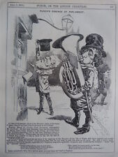 "7x10"" PUNCH cartoon 1878 PUNCH`S ESSENCE OF PARLIAMENT ,  DISRAELI with tuba"