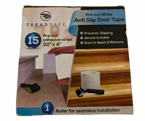 TreadSafe 15 Pack Anti Slip Stair Grip Traction Treads Tape 32 x 4 White Pre Cut