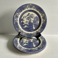 "Set of 4 Blue Willow English Ironstone Porcelain 9 5/8"" Dinner Plates England"