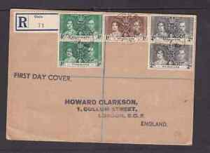Nyasaland 1937 registered FDC 1st day cover to England KGVI Coronation Cholo
