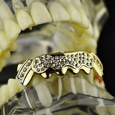 14k Gold Plated Grillz Bottom Iced-Out Bling Cluster Lower Hip Hop Teeth Grills