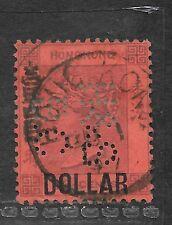 1891 sello de Hong Kong wmk surch T10 CA/$1 en 96C Púrpura/Rojo Usado