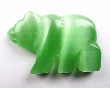 1PCS 54x34x8mm green cat eye gemstone carved bear pendant bead Vk5594