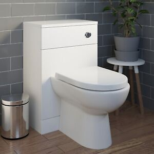 Bathroom BTW Back to Wall Toilet Cloakroom Unit Modern White Gloss D Shaped 300