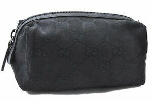 Authentic GUCCI Pouch GG Canvas Leather 89596 Black E0783