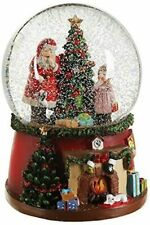 Christmas Santa Tree & Child Home Setting Snow Globe Decoration Musical Wind Up