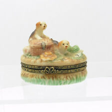 Hinged Ceramic Pillbox Trinket with beagle pups a fisherman's creel and fish