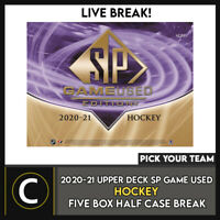 2020-21 UPPER DECK SP GAME USED HOCKEY 5 BOX BREAK #H1155 - PICK YOUR TEAM