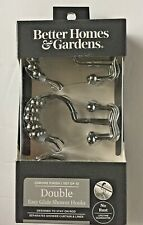 Double Easy Glide Shower Curtain Hooks w/ Rollers Chrome Finish No Rust Full Set