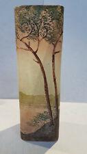ART NOUVEAU Vase en verre émaillé signé LEGRAS paysage lacustre