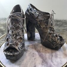 MIA Sz 9.5 M Black & Tan Snake Skin Platform Lace Up Block Heels Dress Pumps