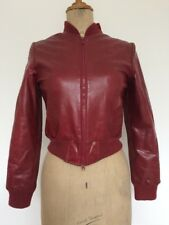 Used Ladies Red Leather Size Small 10-12 Bomber Jacket From Morgan Zip Up