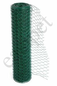 PVC Coated Green Chicken Rabbit Wire 25m 50m 3 widths Mesh Aviary Fencing Garden