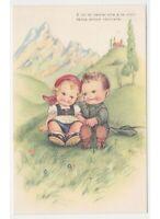 Mariapia Tarjeta Postal Niños Amantes Alpino Soldado Valle Montaña Chiesa