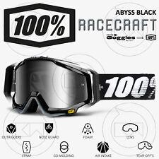 MASCHERA 100% RACECRAFT MX OCCHIALI MOTOCROSS ABYSS BLACK LENTE SPECCHIO ARGENTO