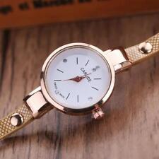 Gold Hot Women Ladies PU Leather Rhinestone Analog Quartz Wrist Watches