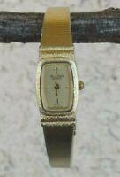 """Bulova Swiss Gold Tone Bracelet Watch Quartz New Battery 6 1/4"""" Wrist WORKS TINY"""