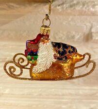 "Patricia Breen Designs 2004 Rare ""Onward Santa"" Santa on gold sleigh- Stunning!"