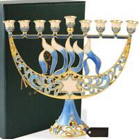 Hand Painted Enamel Menorah Candelabra w/ Flower and Hanukkah Design by Matashi