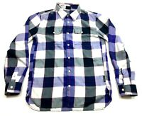 Oakley Mens Blue Plaid Long Sleeve Front Pockets Button Front Shirt Size Small