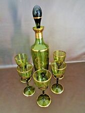 Vintage Green Glass Decanter With Five Matching Glasses (Cat.#1T003)