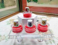 """4 PC PORCELAIN HAND PAINTED MULTI FLORAL 1"""" THIMBLE WITH BOXES"""