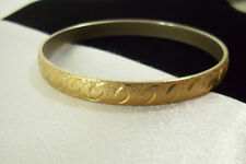MONET FROSTY Gold Plated BANGLE Bracelet Embossed Vintage Designer Signed