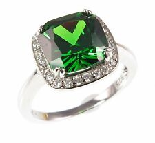 925 Sterling silver CZ cocktail ring, 8 colours - pink green blue purple yellow