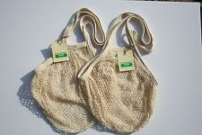 2 Boulevard String net Shopping Bags, recycled unbleached cotton,Long Handles