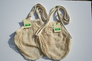 2 Boulevard String net Shopping Bags, recycled unbleached cotton, Long Handles