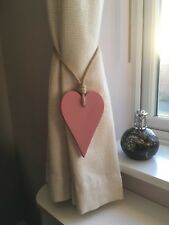 Pair Of Handmade Pink Long Wooden Heart Curtain Tie Backs With Jute Rope Tie