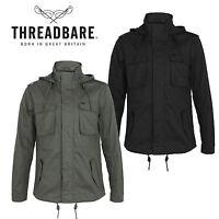 Mens Threadbare Light Weight Zip Multi Pocket Military Hooded Collar Jacket Coat