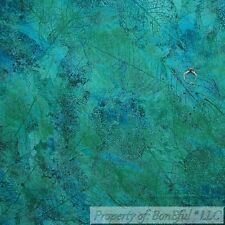 BonEful FABRIC FQ Cotton Quilt Aqua Blue Green Large Leaf Feather Fossil Nature