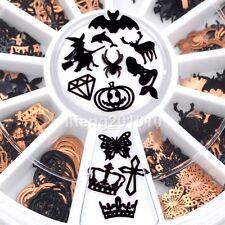 3D Metal Halloween Nail Art Decoration Slice Black Nail Sticker Decal Foil Wheel