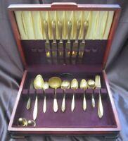 Vintage Dirilyte 1950's Gold Hue Flatware Set