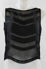 Linda Allard Black Knit Striped Sleeveless Sheer Button Back Blouse Size 8