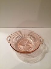 Vintage-Anchor Hocking-Queen Mary-La. Fruit Bowl-Pink-Pressed Glass-c.1936-1949