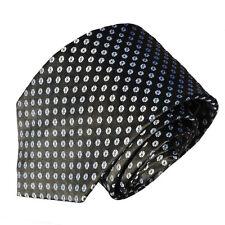 Men's black and white dot geometric patterned neck tie