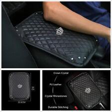 Bling Rhinestone Black PU Leather Armrest Box Rail Pad Car Accessories 33x23.5CM