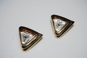 VINTAGE COUTURE S.A.L. SWAROVSKI GOLD TONED METAL TRIANGLE & STONE CLIP EARRINGS