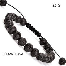 Unisex Adjustable Macrame Hand Braided Black Lava Stone Healing Beads Bracelet