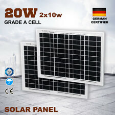 2x 10W 12V Solar Panel Kit Power Caravan Camping Battery Garden Charging Home