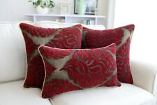 Fashion Luxury Rococo Victorian Damask Red Cut Velvet Throw Pillow Cushion Cover