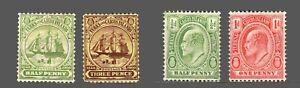 Turks & Caicos Islands #10,12,13,14,Wmk.3 'Dependency's Badge' KE VII  1905-09