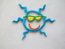 "#4227 2-5/8"" Blue Sun w/Sunglass,Smile Face Embroidery Iron On Applique Patch"